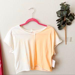 NWT Free People Orange/White Crop Tee Size Large